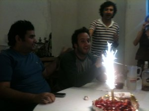Sparkler on cake in Buenos Aires